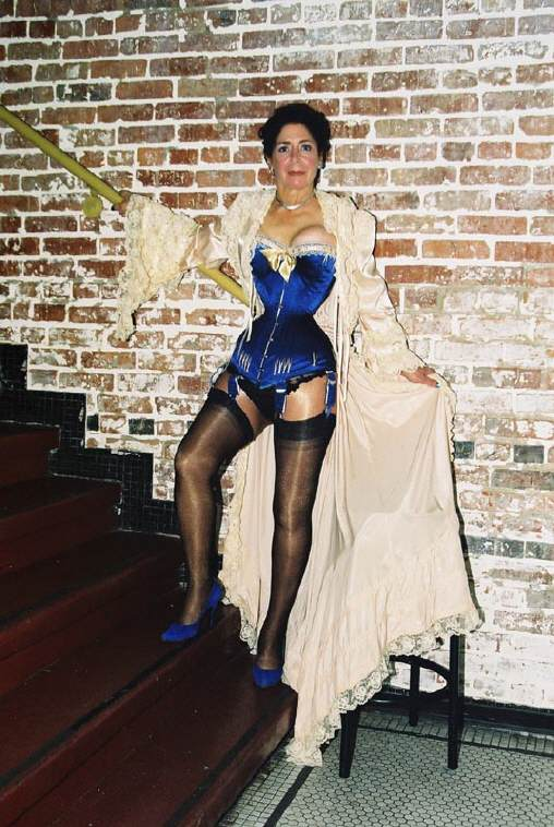 Blue Satin Corset Custom fitted for Cathie Jung