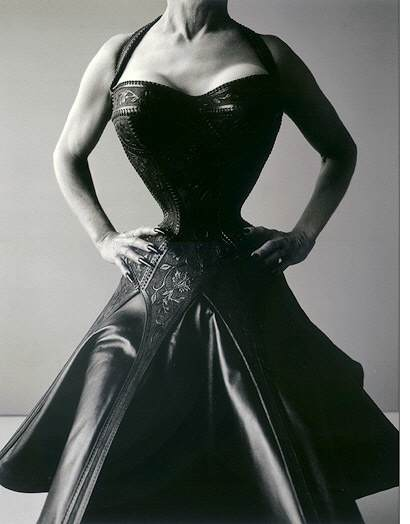 The photo was done by Ruven Afanador for the Esenstaedt Awards and shown in the collectors edition of Life magazine the Eisie issue spring 1998. The tooled leather corset dress was shown at the F.I.T. corset display.
